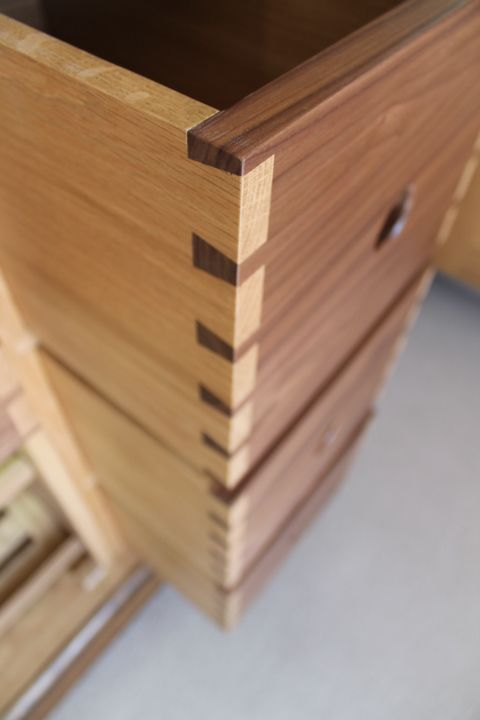 Dovetailed Drawers In Contrasting Oak And Walnut For A