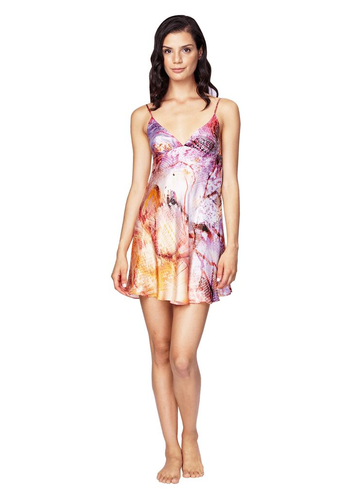 Aurora Chemise: Aurora showcases a vibrant ombre of abstract butterfly wings, that are poised to fly you away. The swing chemise has a flirty fit, with a bust seam for moderate support. Adjustable straps. 100% Silk. Made in Canada.  silk chemise, silk nighty.