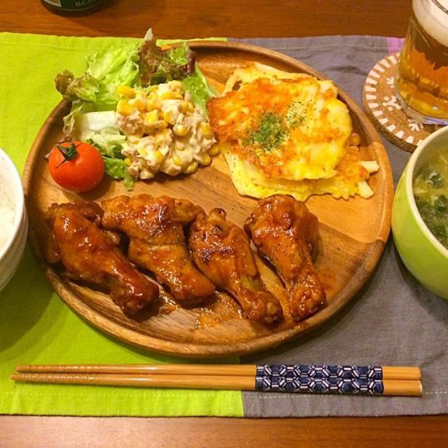 長芋とチーズは千切りに❤️ほくほくでおつまみにも❤️ - 24件のもぐもぐ - こってり手羽元煮込み 長芋のチーズ焼き ツナコーンサラダ 玉子スープ by hasese