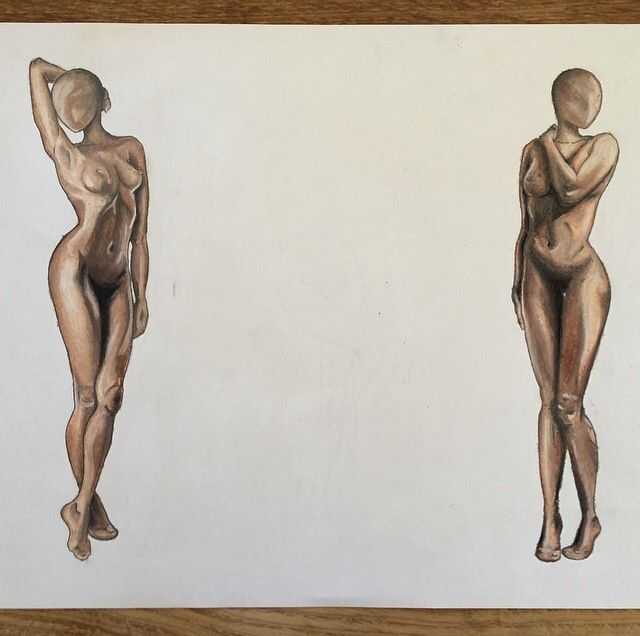 A3 set of two oil pastel nudes