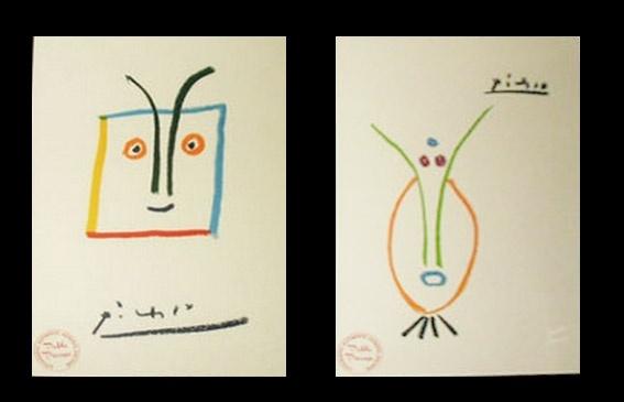 """Pablo Picasso Litografie """" 25/30  KRIEGER DIOMEDES  """" - """" 21/30  KRIEGER TELAMON """" - AUTENTICHE FIRMATE - EDITEUR: CERCLE D'ART, Paris 1961  TIMBRO AUTENTICITA' SUL FRONTE A SINISTRA / AUTENTICITA' ARCHIVIAZIONE (ARCHIVIATE E CERTIFICATE PERGAMENA ) SUL FRONTE A DESTRA ULTERIORE TIMBRO A SECCO CON FIRMA A SECCO PABLO PICASSO - Venduto - Sold Out"""