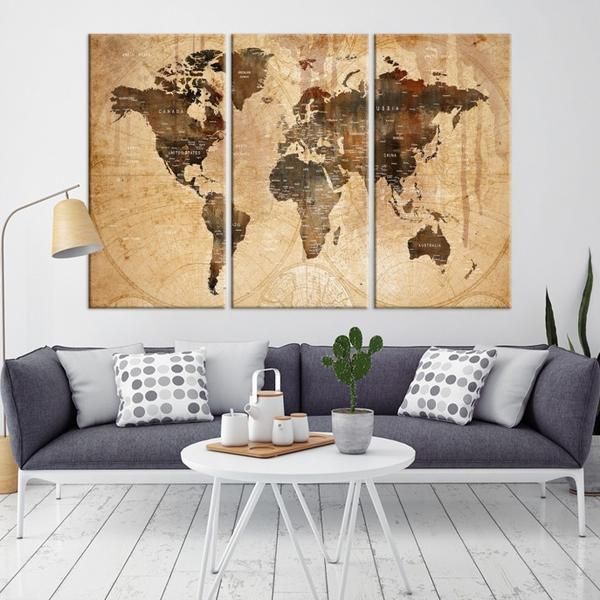 37774 - World Map Wall Art- World Map Canvas- World Map Print- World Map Poster- World Map Art- World Map Push Pin- Push Pin World Map-