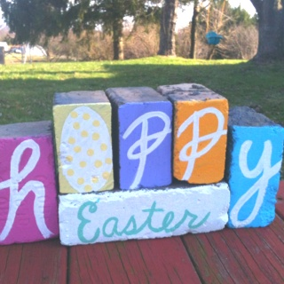My first DIY Easter decor that was inspired from pinterest. I actually used bricks and what I plan to do to the back of the brick is decorate with Merry Christmas so I can use them again!!