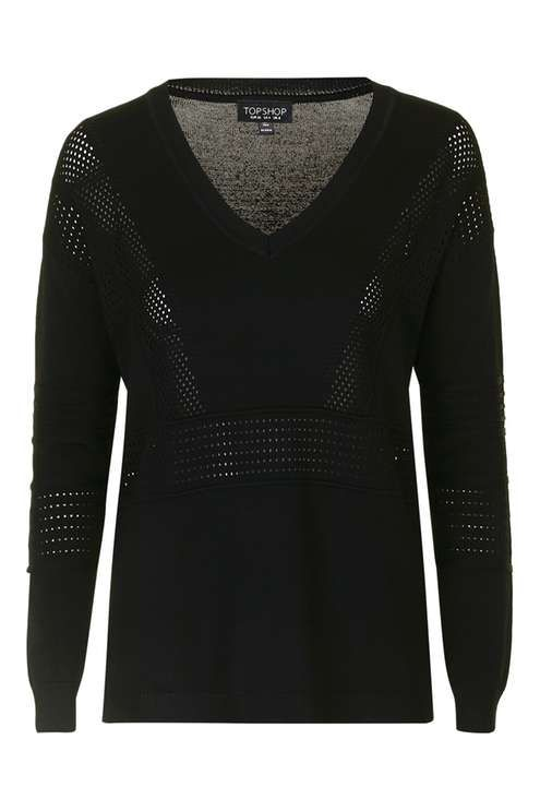 Pointelle V-Neck Jumper