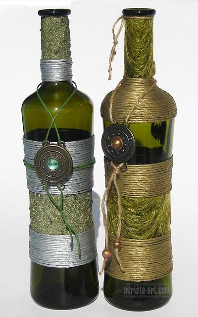 183 best bottles jute or burlap or yarn images on pinterest decorated bottles jute and wine. Black Bedroom Furniture Sets. Home Design Ideas