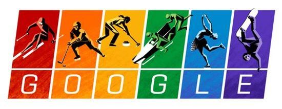 Sotchi : le Doodle de l'ouverture. Chacune des six lettres du mot ' Google ' est associée à un sport et à une couleu