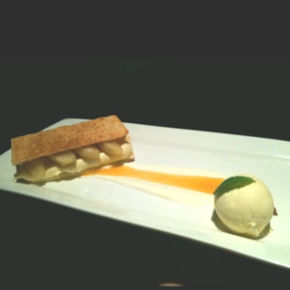 Caramelised puff pastry, sauté apples, ginger cream mousse, with rich butterscotch sauce and vanilla bean ice-cream