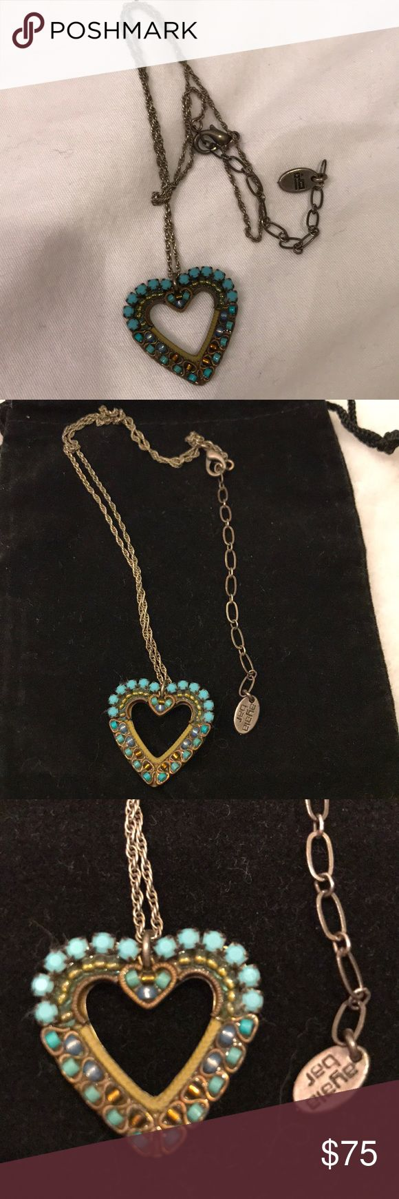 Ayala Bar Turquoise Heart Necklace Heart is approx  I in x I in . Heart is surrounded by turquoise colored beads & stones . In very good condition with no flaws . Ayala Bar Jewelry Necklaces