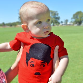 Charlie Chaplin T-shirt made by Mint Print. Model is Roh