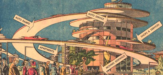 "1960 Motopia 1960--History of the Future of the City. ""No person will walk where automobiles move,"" is how British architect Geoffrey Alan Jellicoe described his town of the future, ""and no car can encroach on the area sacred to the pedestrian."""