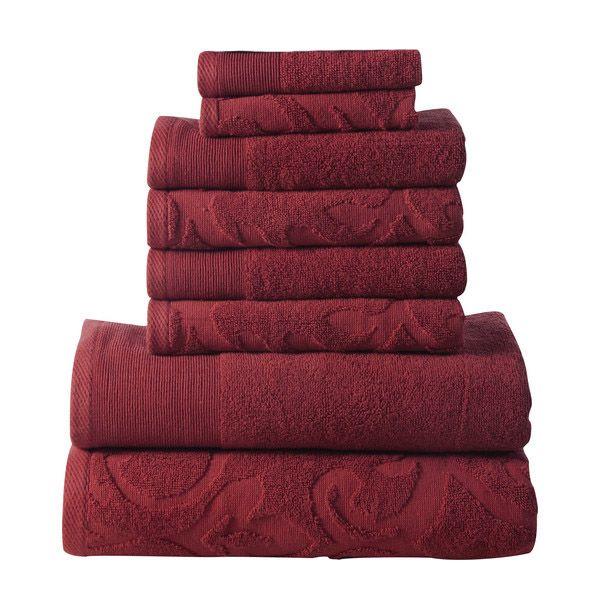 Affinity Elegance Egyptian Cotton 6 Piece Bath Towel Set Red