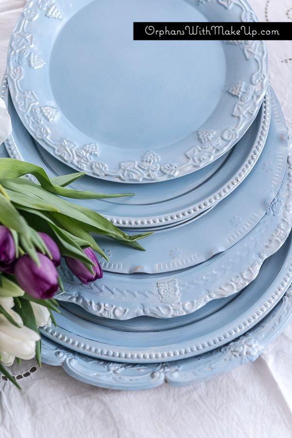 Up-cycled plate chargers.  Painted in Elegance and highlighted with metallic cream. #diy #blogsquad