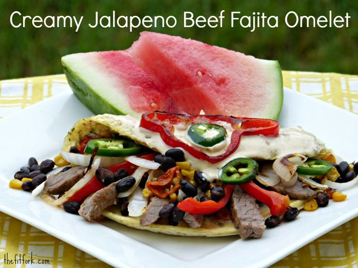 Creamy Jalapeno Beef Fajita Omelet -- perfect for Father's Day breakfast or brunch! Hearty yet still healthy with eggs, lean steak and tons of veggies. | thefitfork.com