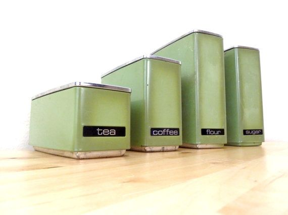 Vintage Lincoln Beautyware / Metal Canister Set / Avocado Green / Metal Storage Tins / Tea and Coffee Canisters on Etsy, $34.00