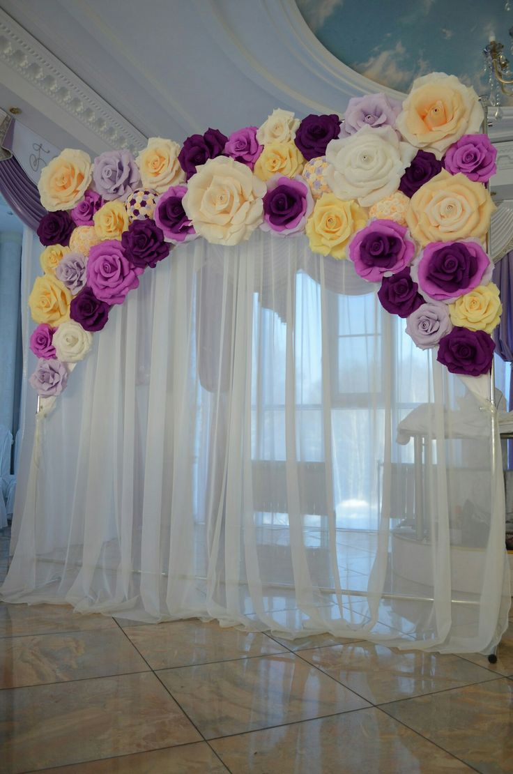 top 25 ideas about backdrop paper flowers wedding on. Black Bedroom Furniture Sets. Home Design Ideas