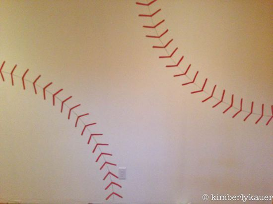 How to paint baseball stitching on the wall.  I'm doing this in the basement and it is going to be AWESOME!!