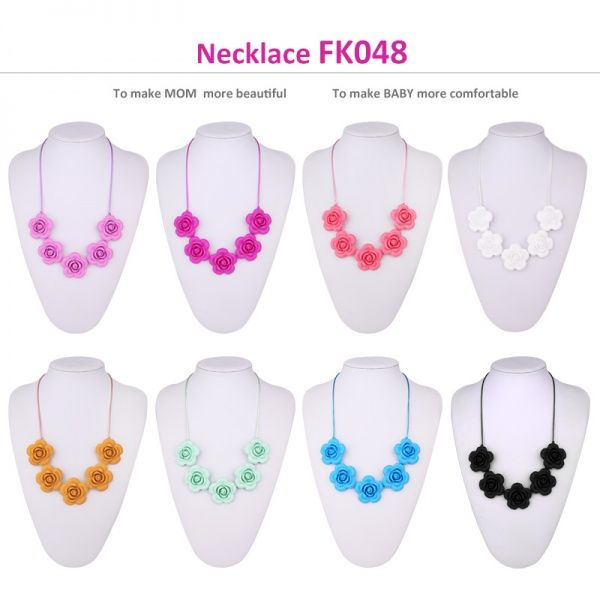 bpa free silicone teething necklace