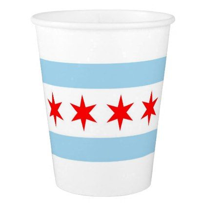 Patriotic paper cup with flag of Chicago - paper gifts presents gift idea customize