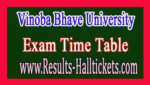 Vinoba Bhave University MCA IIIrd & Vth Sem Sem CBCS Exam Time Table