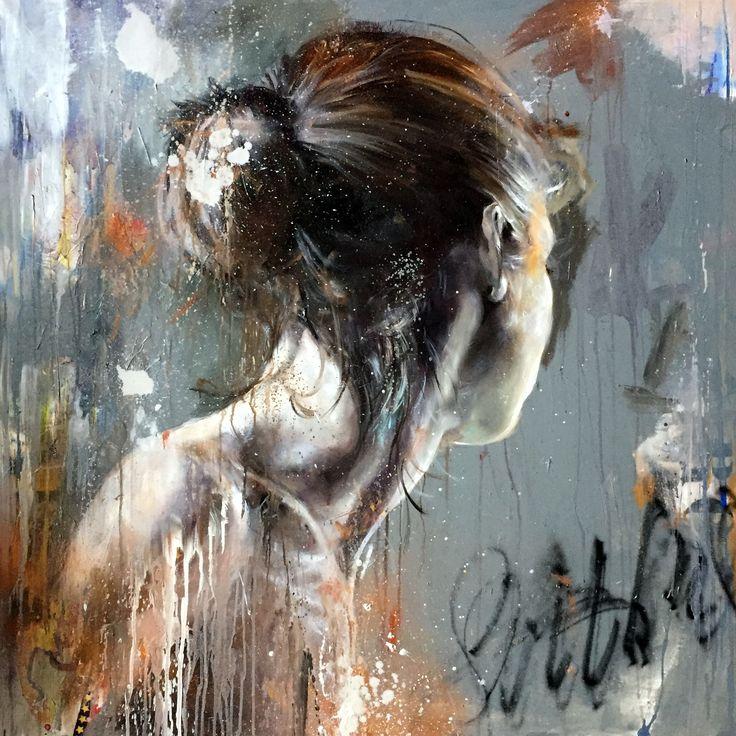 CECILE DESSERLE Titre EMMA Format 120 x 120 cm huile , aérosol et collage sur toile   Cécile Desserle - Site Officiel