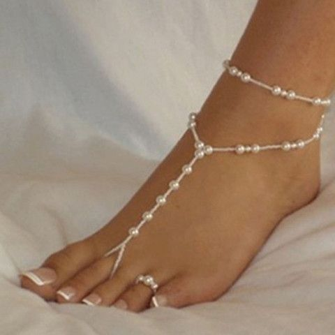 Fashion ankle bracelet beach imitation pearl barefoot sandal tornozeleira femininas
