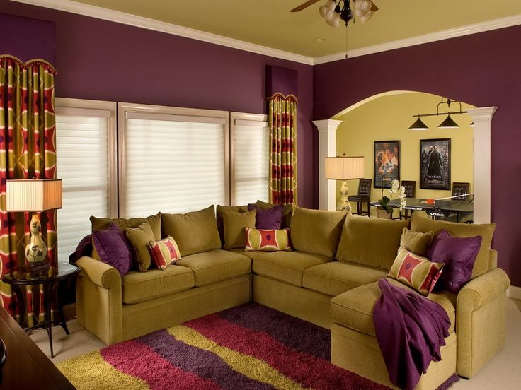 Living room, Idyllic Eggplant Color Scheme Chosen For Living Room Design Displaying Eclectic Sofa And Colorful Fur Rug Well Matched For Interior Concept Inspiration ~ Fabulous Living Room Design with Charming Eclectic Themes
