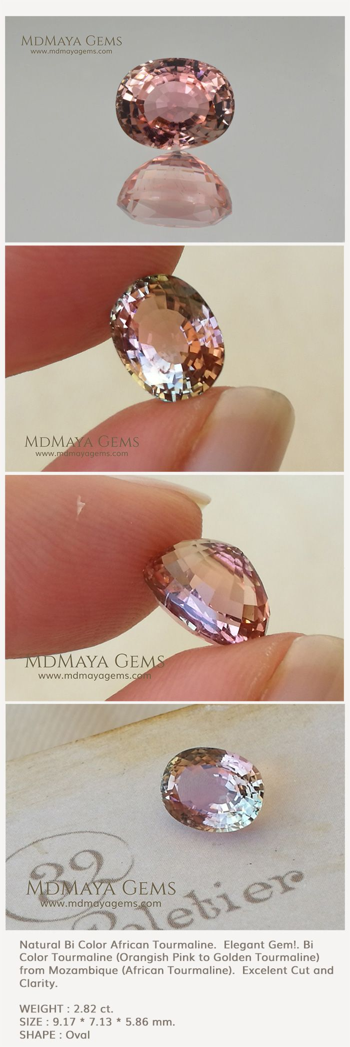 Natural Bi Color African Tourmaline.  Elegant Gem!. Bi Color Tourmaline (Orangish Pink to Golden) from Mozambique. This gemstone with its pale colors is incredibly beautiful, has an excellent cut and clarity. Perfect for your bespoke jewelry. Oval Cut. 2.82 ct. A great gemstone at a low price, don't miss it!.