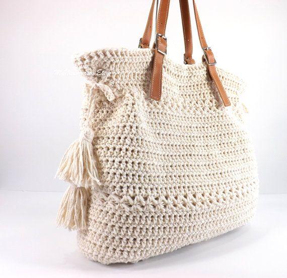 Crochet Bohemian Style Handbag Crochet Boho Tote Bag by Avaneska