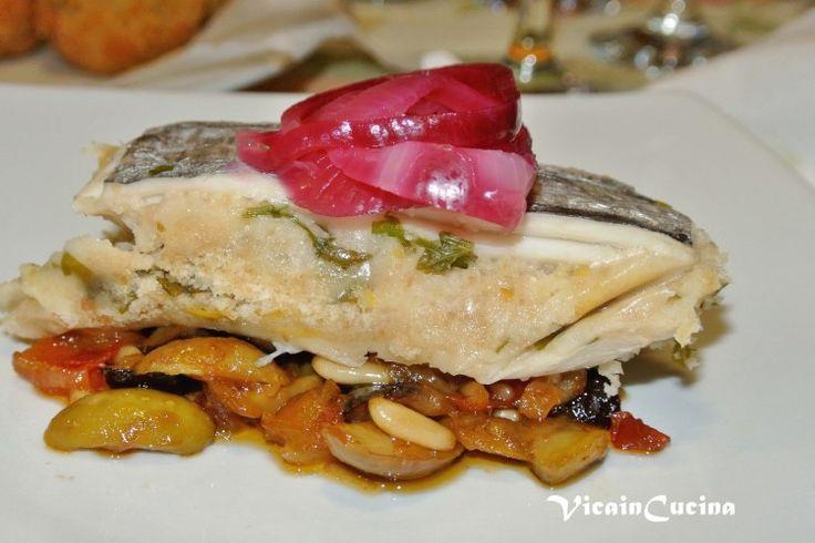 Spatola a beccafico con caponata siciliana e cipolla rossa in agrodolce