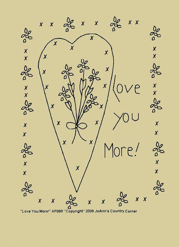 Primitive Stitchery EPattern Love you more by JoAnnCountryCorner, $2.00