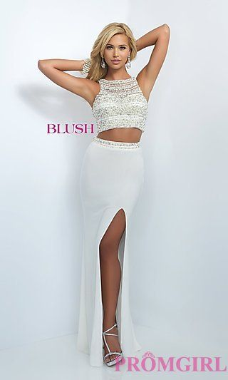 Glamorous Two Piece Blush Prom Dress with Slit at PromGirl.com