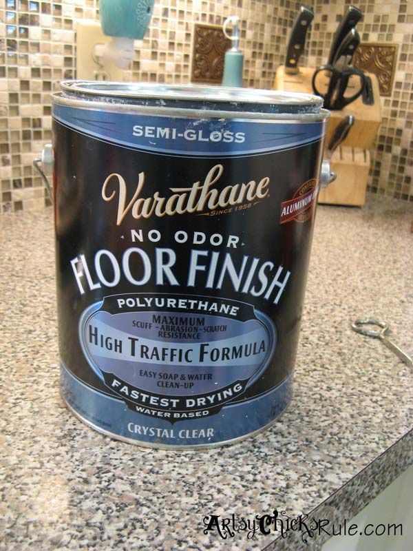 Varathane for Chalk Painted Cabinets - seal them with Varathane floor sealer (Lowe's) instead of wax.
