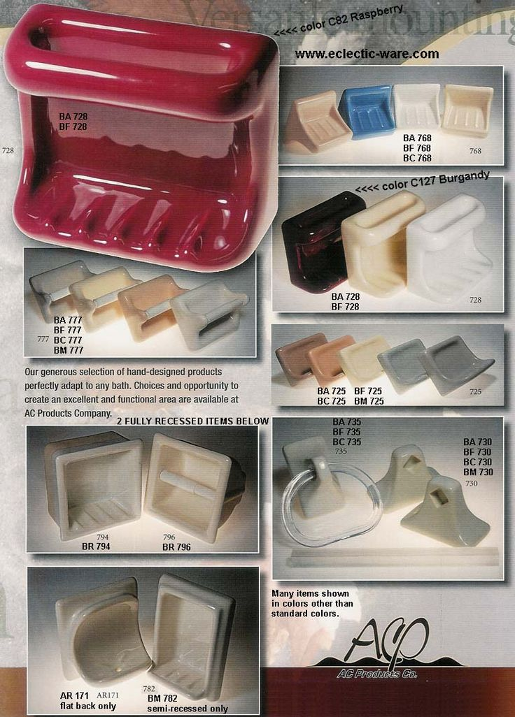 ceramic soap dishes, towel bars, and other bathroom accessories