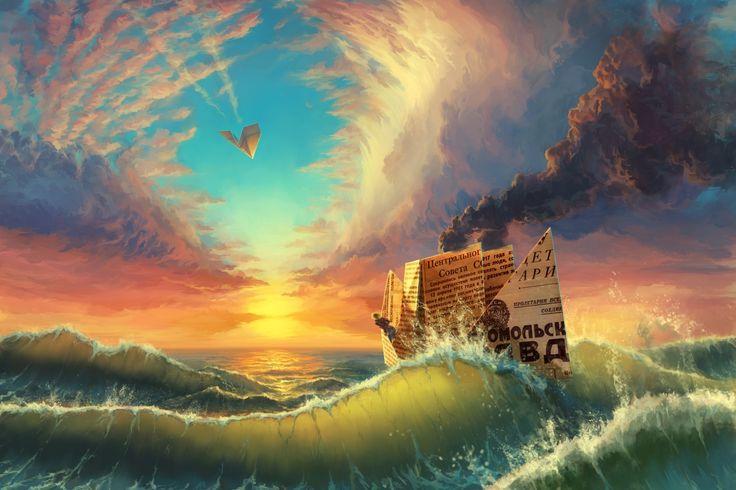 Mar Navio Pintura Ondas Fumo Naturaleza