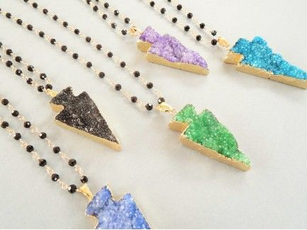 Druzy Arrow Pendant Necklace
