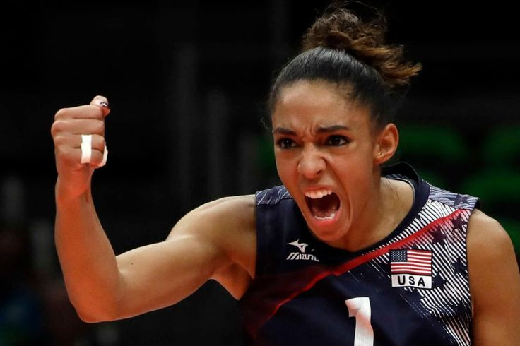 United States' Alisha Glass celebrates during a women's bronze medal volleyball…