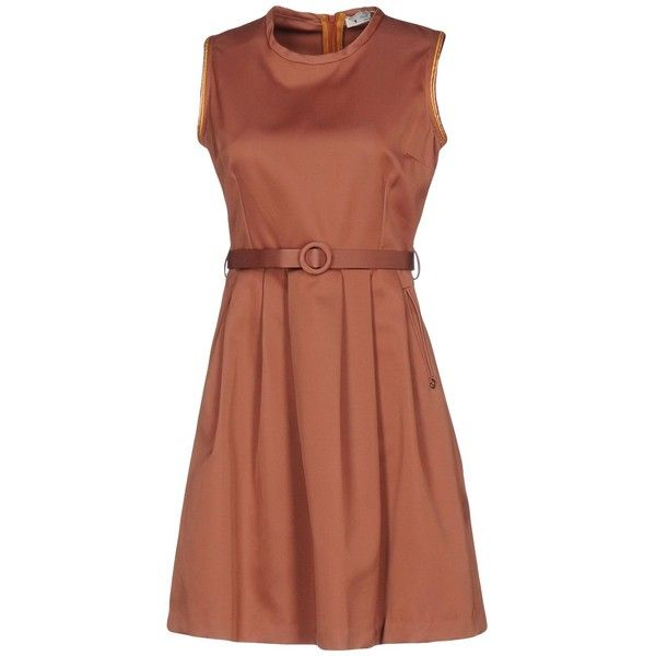 Ottod'ame Short Dress (£109) ❤ liked on Polyvore featuring dresses, light brown, short dresses, zipper mini dress, brown swing dress, zip dress and tent dress