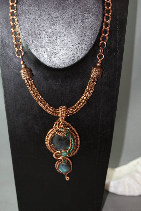 Double Labradorite Copper Wire Wrapped Pendant on Viking Wire: OOAK