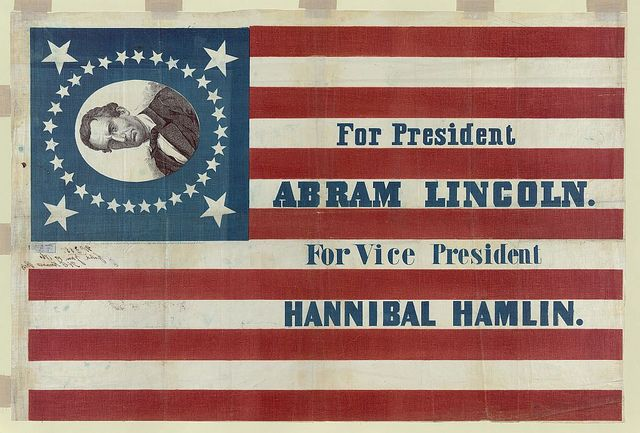 via the library of congress: Vice Presidents, Campaigns Poster, Abraham Lincoln, Hannibal Hamlin, U.S. Presidents, Abrams Lincoln, Presidenti Campaigns, Campaigns Banners, Lincoln Campaigns