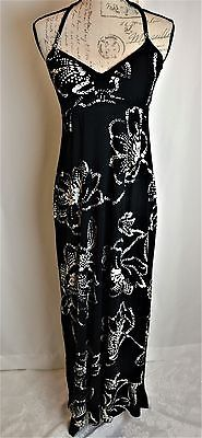 Express Black White Long Maxi Sun Halter Dress Womans Junior Size S Empire Waist