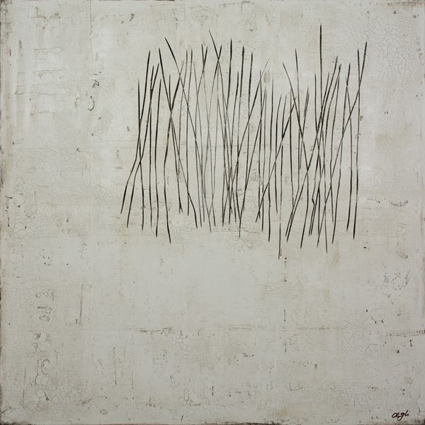 Vermehrung / Multiplication, 80 x 80 cm, mixed Media on canvas, white, black