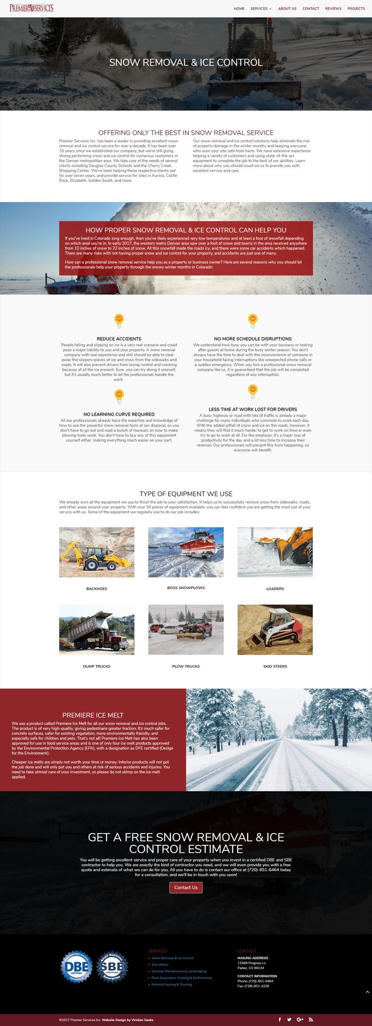The snow removal service page Viridian Geeks designed for Premier Services, Inc.