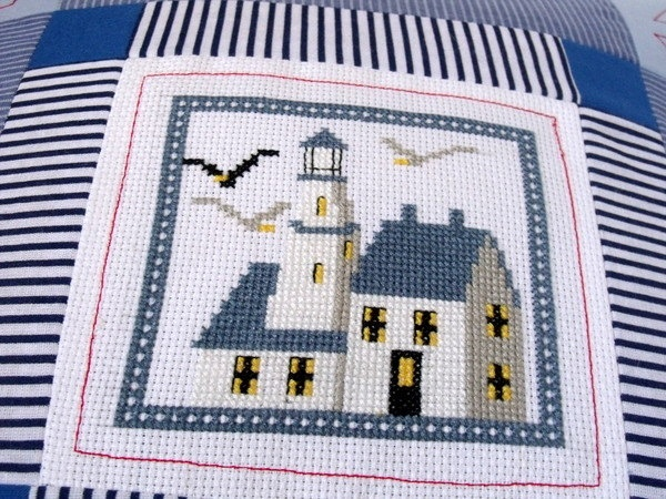 Decorative pillow patchwork navy nautical For Home. $35.99, via Etsy.