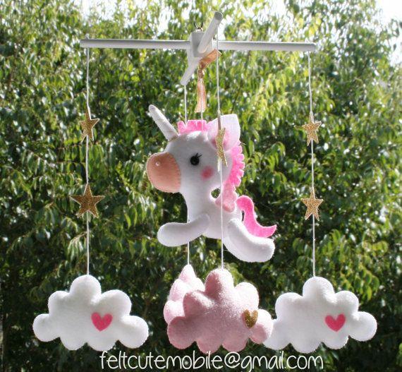 Unicorno bambino cellulare - feltro Baby culla Mobile - stelle e nuvole Nursery Decor mobili Biancheria - Culla Mobile rosa cavallo ragazza bambola Fantasy BB