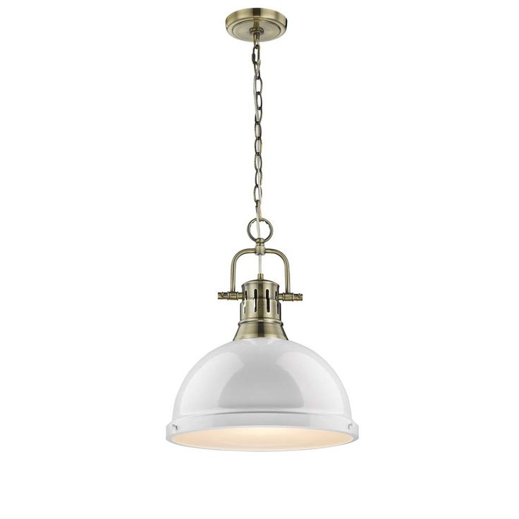 Duncan Large Chain Hung Pendant in Brass with White Shade by Golden Lighting 3062-L AB-WH