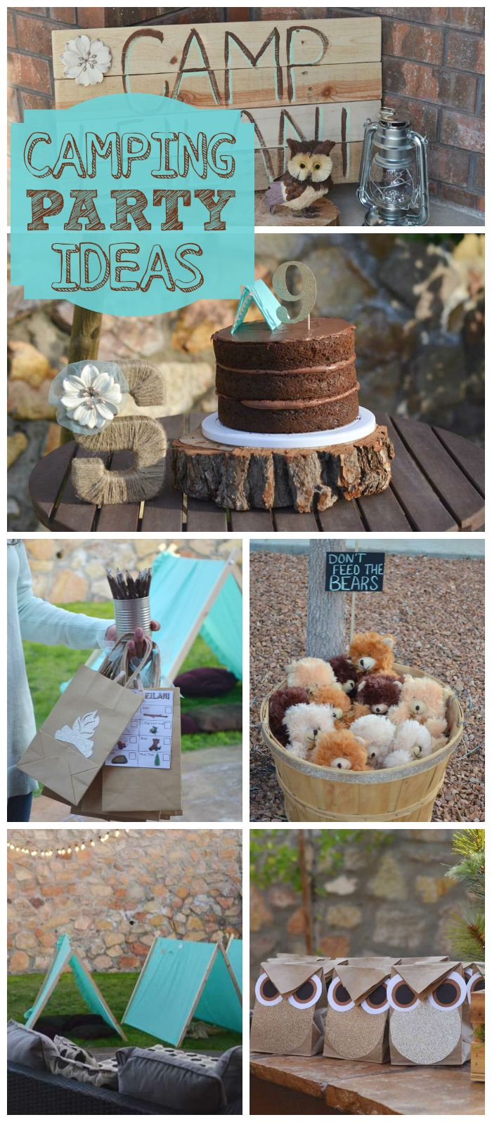 A fun backyard camping girl birthday party with turquoise tents, cake and a scavenger hunt! See more party planning ideas at CatchMyParty.com!