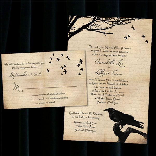 Custom Raven Halloween Wedding Invitations 395 via