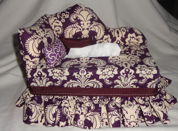 "Tissue Box Chaise   $20.00  TISSUE BOX COVERS that look like small couches with small pillows. They fit most standard 120/160 count tissue box Measuring approximate 9"" x 4 1/2"" x 3 1/4"" Perfect to dress up your home or office, dens, kids room, kitchen or bath. Great gift idea. Many different styles and fabrics. Most are ""one of a kind"" All are handmade with careful attention to details. Custom embroidery available These make great gifts...buy one for yourself and one for a friend."