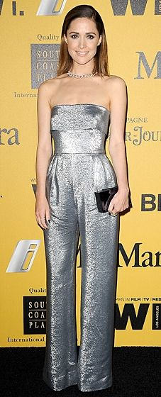 Rose Byrne sparkles in a strapless silver lame Max Mara jumpsuit at the Women in Film Crystal + Lucy Awards