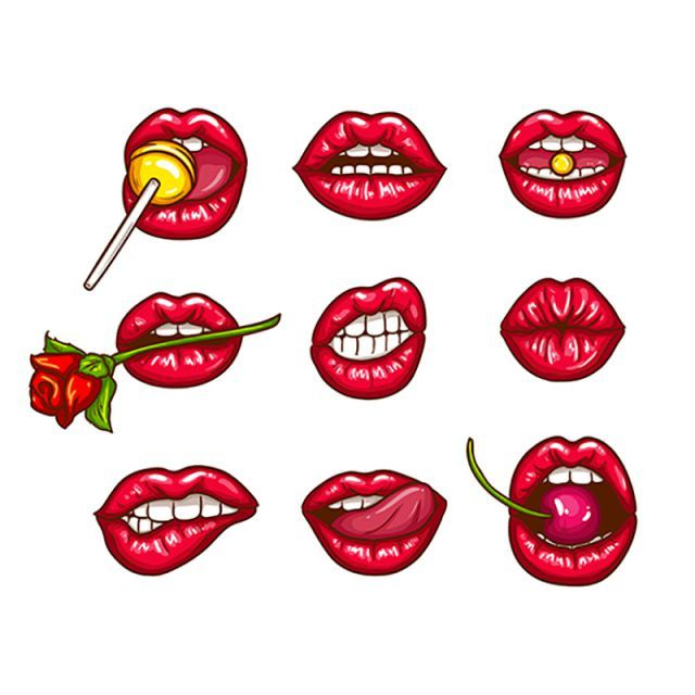 A Collection Of Pop Art Icons Of Red Female Lips Ajar Bitten Lip